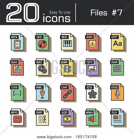 Files icon set 7 ( mp4 iso mid apk otf bak bat bmp tif rar css kml ink ico ogg mpg swf 3gp wma flv ) vintage and retro style .