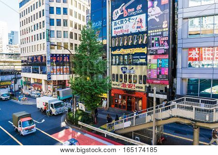TOKYO JAPAN - October 24 2016: Shibuya It's the shopping district which surrounds Shibuya railway station. This area is known as one of the fashion centers and major nightlife of Japan on October 24 2016.