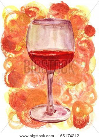 A watercolor drawing of a glass of red wine on a golden colored background, toned image