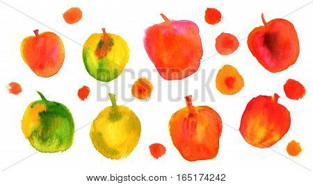 A collection of vibrant quirky freehand abstract watercolor apples on white background