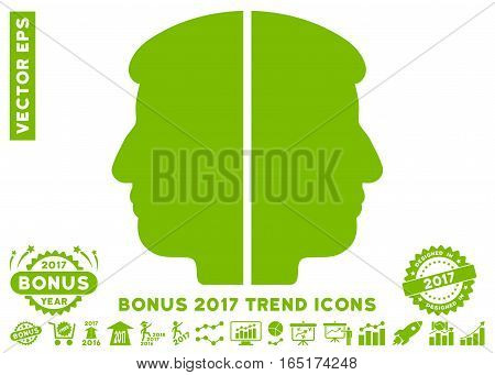 Eco Green Dual Face pictograph with bonus 2017 trend pictograms. Vector illustration style is flat iconic symbols white background.