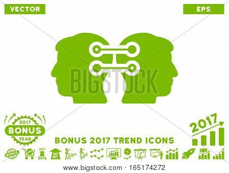 Eco Green Dual Heads Interface Connection pictograph with bonus 2017 trend pictures. Vector illustration style is flat iconic symbols white background.