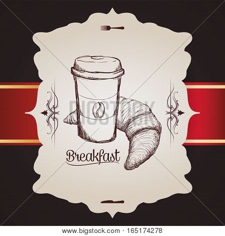 hand drawing breakfast cup plastic coffee bread croissant vintage badge vector illustration eps 10
