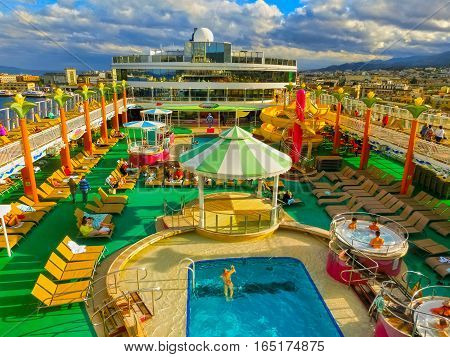 Messina, Italy - May 05, 2014: The upper deck of cruise Ship Norwegian Jade by NCL