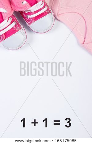 Shoes And Bodysuits For Newborn, Expecting For Baby, Copy Space For Text
