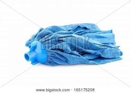 Blue mop isolated on a white background.