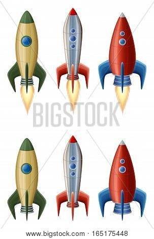 Set of rockets collection of icons EPS 10 contains transparency