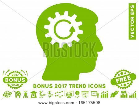 Eco Green Head Gear Rotation pictogram with bonus 2017 trend elements. Vector illustration style is flat iconic symbols white background.