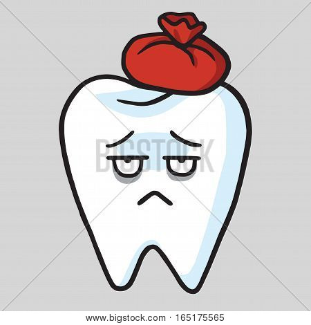 Cute Tooth Cartoon Toothache Vector Illustration Clipart