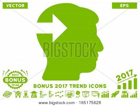 Eco Green Head Plug-In Arrow icon with bonus 2017 trend pictures. Vector illustration style is flat iconic symbols white background.