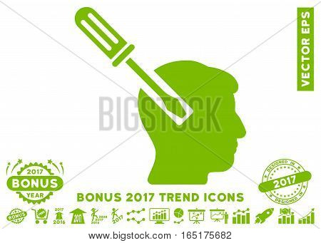 Eco Green Head Screwdriver Tuning icon with bonus 2017 year trend clip art. Vector illustration style is flat iconic symbols white background.