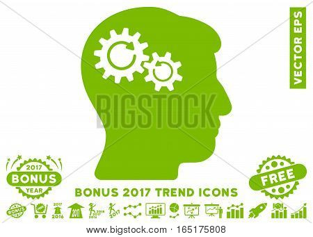 Eco Green Head Wheels Rotation pictograph with bonus 2017 trend icon set. Vector illustration style is flat iconic symbols white background.