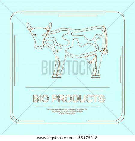 Logotype of bio products with cow in thin line design. Perfect organic farm products banner or flyer. Vector illustration. eps 10