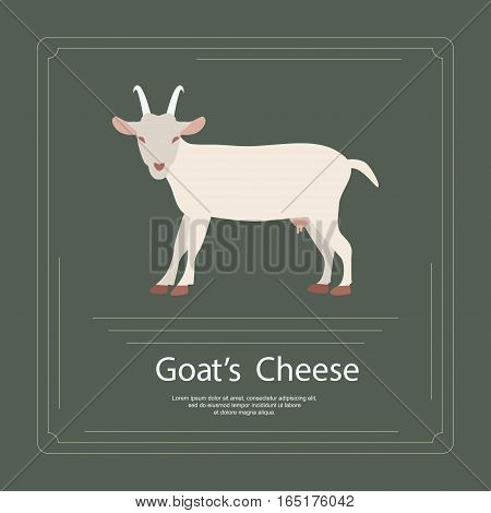Logotype of goat's cheese in modern flat design. Perfect organic farm products banner or flyer. Vector illustration. eps 10