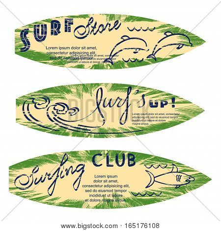 Set of surf logos for flyers, leaflets, signs on palm texture with attrition effect. Vector illustration. eps10