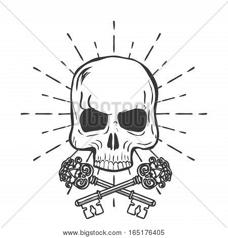 Skull with crossed keys isolated on white background vector illustration