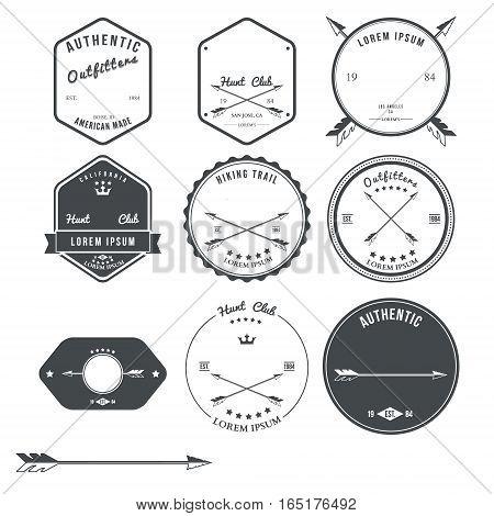Set of vintage hunt icons, emblems and labels. Vector illustration