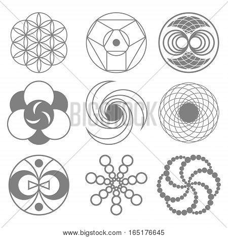 Set of Circles on Wheat Fields Vector Illustration