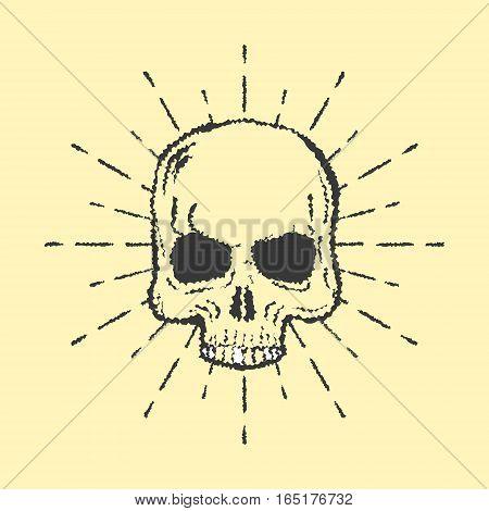 Skull with sunburst isolated on white background vector illustration