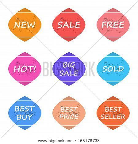 sale and promotion sticker label grunge style set,vector Illustration EPS10