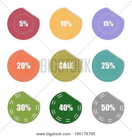 sale and percentage tear sticker label set,vector Illustration EPS10