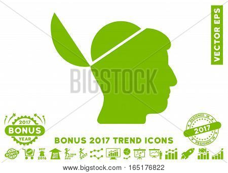 Eco Green Open Brain icon with bonus 2017 year trend pictograms. Vector illustration style is flat iconic symbols white background.