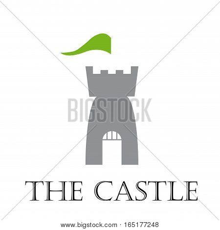 Vector sign castle with flag, isolated illustration on white