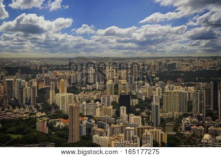 urban cityscape in day and clear blue sky with cloud - can use to display or montage on product