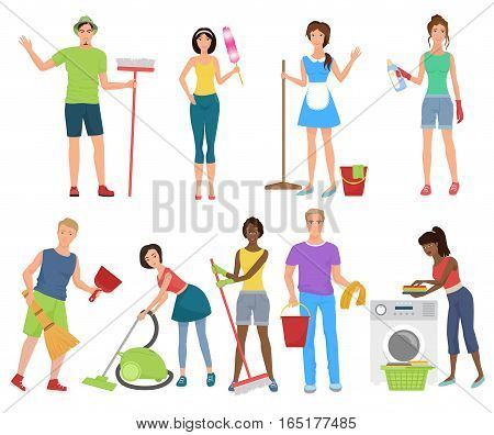 Man and woman cleaners. Cleaning people working washing with cleaning equipmen set. Professional Cleaning service