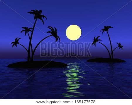 Full moon in the ocean and the desert island with palm trees 3D illustration
