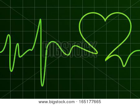 Vector Heart and ecg background on black