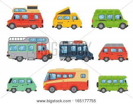 Delivery vans vehicle vector illustration. Motorhome retro camping trailer. Shipping truck design commercial lorry automobile. Caravan business car.