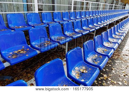 rows of seats in the tribune of a stadium
