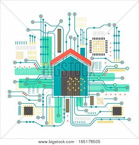 Vector smart home concept. Smart home in microchip pathways futuristic background. Internet of things technology
