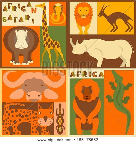 Vector set of African animals elements and icons. African flat. African design. African animals. African ornament. African mask. African eps vector. Perfect promotional flyer, booklets and articles.