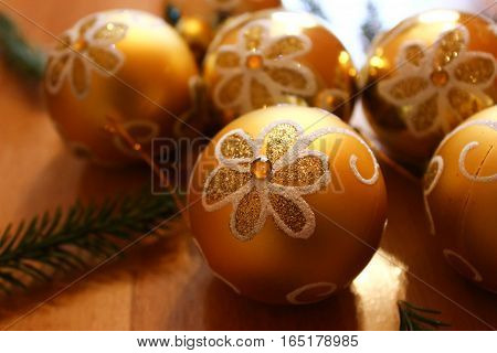 Yellow beauty spheres for Christmas tree decoration