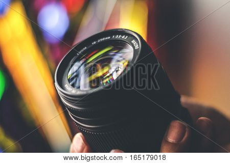 Camera Lense And Blurred Background