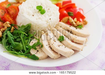 Diet Food. Chicken Breast With Rice And Vegetables. Healthy Lifestyle. Sports Nutrition.