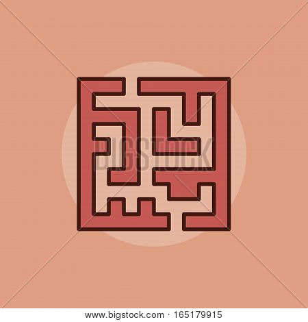 Labyrinth abstract icon. Vector colorful red square maze symbol or logo element