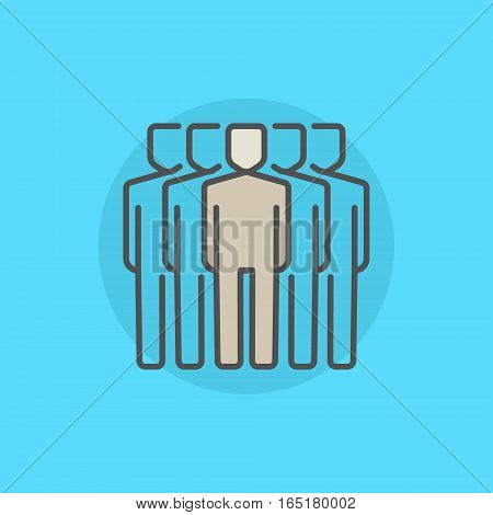 Team leader colorful icon. Vector group of people with a man leader in the center symbol or logo element on blue background