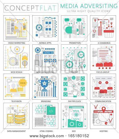 Infographics mini concept Media advertising icons for web. Premium quality design web graphics icons elements. Media advertising technology concepts