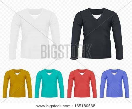 Realistic vector Men T-shirt with long sleeves set. Full editable different colors tshirt collection