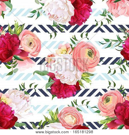 Burgundy red and white peonies ranunculus rose seamless vector pattern. Blue triangle striped elegant print with luxury bright flowers.