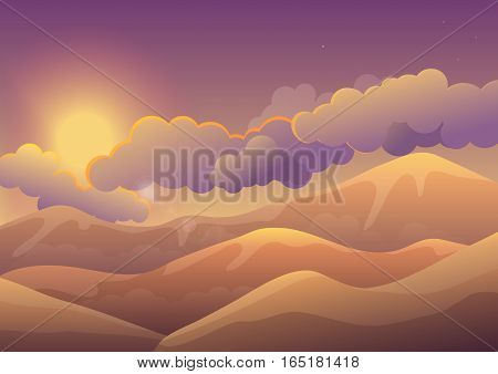 Mountains at sunset with color clouds. Sunrise landscape