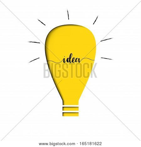 Yellow light bulb with text idea inside - paper cut out layer - think concept (Vector EPS10)