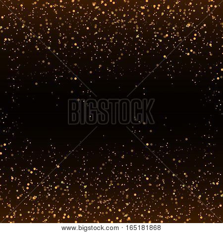 Golden glitter confetti falling on black vector background. Shining gold shimmer luxury design card. Christmas glowing snow. Scattered dust. Magic mist glowing. Stylish fashion backdrop.