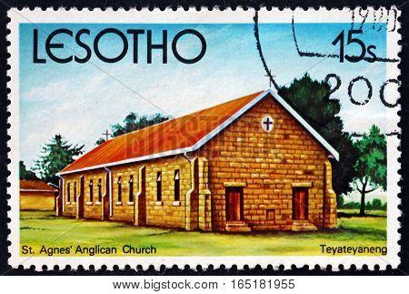 LESOTHO - CIRCA 1980: a stamp printed in the Lesotho shows St. Agnes' Anglican Church Teyateyaneng circa 1980