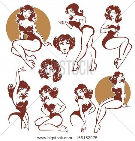 beauty and sexy pinup girls vector collection