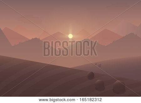 Cartoon sunset Mountain Landscape Background with trees and fields