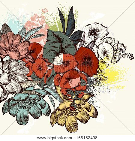 Hand drawn flowers in engraved retro style